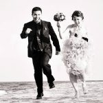 artistic wedding photography in cozumel groom running love couple
